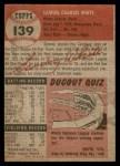 1953 Topps #139  Sammy White  Back Thumbnail