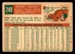 1959 Topps #249  Bobby Adams  Back Thumbnail