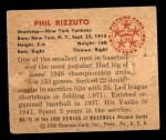 1950 Bowman #11  Phil Rizzuto  Back Thumbnail