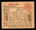 1950 Bowman #240 CPR Eddie Lake  Back Thumbnail