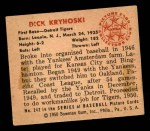 1950 Bowman #242 CPR Dick Kryhoski  Back Thumbnail