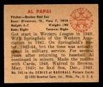 1950 Bowman #245 CPR Al Papai  Back Thumbnail
