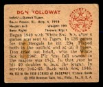 1950 Bowman #133  Don Kolloway  Back Thumbnail