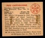 1950 Bowman #201 CPR Pete Castiglione  Back Thumbnail