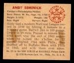 1950 Bowman #121  Andy Seminick  Back Thumbnail