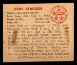 1950 Bowman #93  Gene Bearden  Back Thumbnail