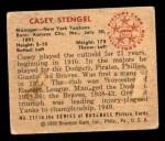 1950 Bowman #217 CPR Casey Stengel  Back Thumbnail