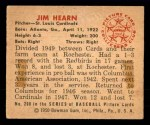 1950 Bowman #208 CPR Jim Hearn  Back Thumbnail