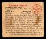 1950 Bowman #211 CPR Charlie Keller  Back Thumbnail