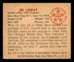 1950 Bowman #215 CPR Eddie Lopat  Back Thumbnail