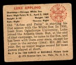 1950 Bowman #37  Luke Appling  Back Thumbnail