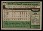 1979 Topps #119  Don Stanhouse  Back Thumbnail