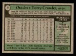 1979 Topps #91  Terry Crowley  Back Thumbnail