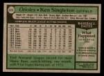 1979 Topps #615  Ken Singleton  Back Thumbnail
