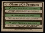 1979 Topps #726   -  Greg Johnston /Joe Strain / John Tamargo Giants Prospects   Back Thumbnail