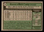 1979 Topps #105  Rick Camp  Back Thumbnail
