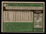 1979 Topps #537  Tom Veryzer  Back Thumbnail