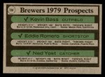 1979 Topps #708   -  Kevin Bass / Eddie Romero / Ned Yost Brewers Prospects Back Thumbnail