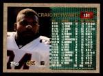 1996 Topps #131   -  Craig Heyward 1000 Yard Club Back Thumbnail
