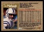1996 Topps #330  Jim Harbaugh  Back Thumbnail