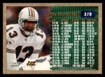 1996 Topps #379   -  Dan Marino 3000 Yard Club Back Thumbnail