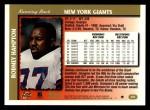 1997 Topps #202  Rodney Hampton  Back Thumbnail