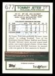1992 Topps #677  Tommy Jeter  Back Thumbnail