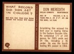 1967 Philadelphia #57  Don Meredith  Back Thumbnail