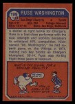 1973 Topps #199  Russ Washington  Back Thumbnail