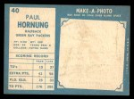 1961 Topps #40  Paul Hornung  Back Thumbnail