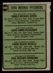 1974 Topps #599 *SM*  -  Dave Freisleben / Ron Diorio / Frank Riccelli / Greg Shanahan Rookie Pitchers   Back Thumbnail