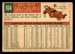1959 Topps #104  Del Rice  Back Thumbnail