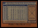 1978 Topps #472  Ron Reed  Back Thumbnail