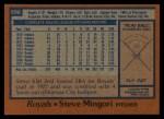 1978 Topps #696  Steve Mingori  Back Thumbnail