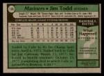 1979 Topps #103  Jim Todd  Back Thumbnail