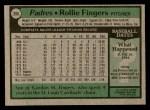1979 Topps #390  Rollie Fingers  Back Thumbnail