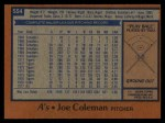 1978 Topps #554  Joe Coleman  Back Thumbnail