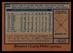 1978 Topps #520  Larry Hisle  Back Thumbnail