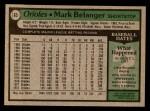 1979 Topps #65  Mark Belanger  Back Thumbnail