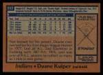1978 Topps #332  Duane Kuiper  Back Thumbnail