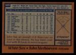 1978 Topps #329  John Verhoeven  Back Thumbnail