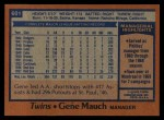 1978 Topps #601  Gene Mauch  Back Thumbnail