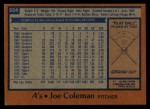 1978 Topps #554  Joe Coleman  Back Thumbnail