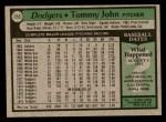 1979 Topps #255  Tommy John  Back Thumbnail