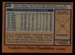 1978 Topps #485  Chris Chambliss  Back Thumbnail