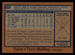 1978 Topps #432  Terry Bulling  Back Thumbnail