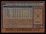 1978 Topps #416  Jack Brohamer  Back Thumbnail