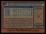 1978 Topps #449  Tim Blackwell  Back Thumbnail