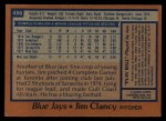 1978 Topps #496  Jim Clancy  Back Thumbnail