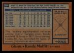 1978 Topps #284  Randy Moffitt  Back Thumbnail